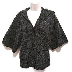Women's Sz Small Elbow Sleeve Hooded Cardigan